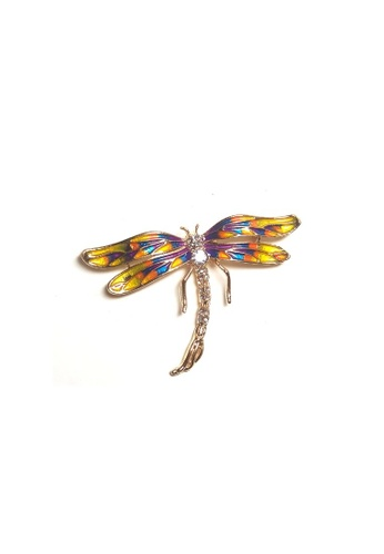 Loveaisyah multi Yellow Dragonfly Brooch free Black Velvet Tie B72E9ACA9CCDF6GS_1
