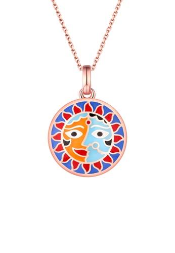 Vedantti multi Vedantti 925 Sterling Silver Madhubani Enamel Sun Art Pendant 52653AC8194297GS_1