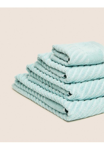 MARKS & SPENCER green M&S Cotton Rich Plush Quick Dry Towel 0F964HLB31259EGS_1