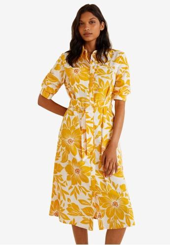 MANGO yellow Floral Shirt Dress 46B51AA313EB87GS_1