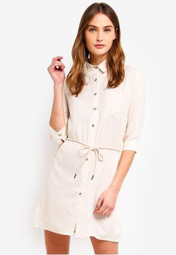ZALORA BASICS beige Basic Contrast Self Tie Shirt Dress D16CFAAEF0F9D0GS_1