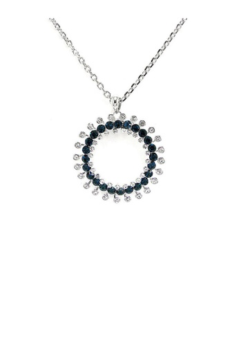 Glamorousky blue Twinkling Wheel Pendant with Silver and Blue Austrian Element Crystals and Necklace ADDA6ACDEA8CDDGS_1