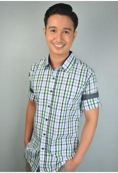 Blue Mint Green Long Sleeve Plaid Print Cotton Button-down Shirt