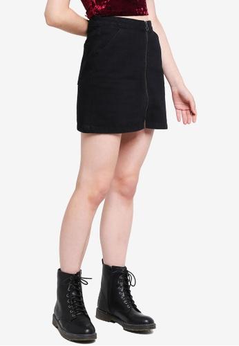 Something Borrowed black A-line Denim Zipper Skirt 91A93AACD6CB0FGS_1