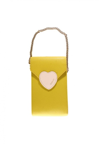 Treasure by B & D yellow Women PU Sling Bag Heart Lock Design TR022AC0JQ2MPH_1