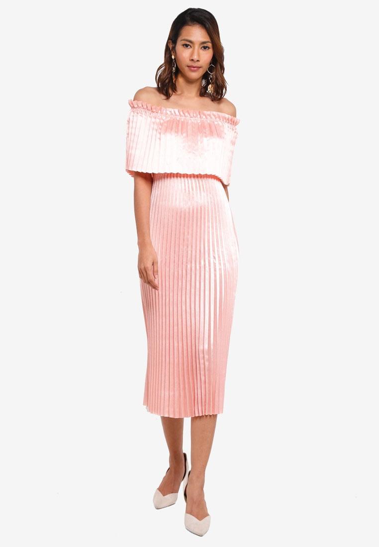 0ba1db760b ... Shoulder Peach Moda Dress Vero Midi Jasmine Melba Off U6BpqY5