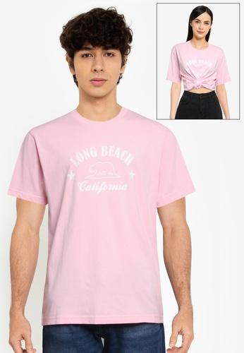 NEW ERA pink Long Beach Short Sleeves Tee 48E0EAAE854083GS_1