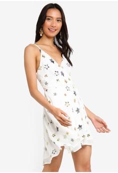 INDIKAH white Surplice Dress With Waist Tie C8203AA74D01E7GS 1 78bcf4fb7