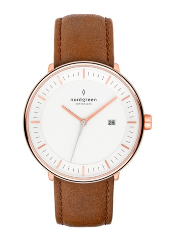 Nordgreen brown and gold Nordgreen Philosopher Rose Gold 36 mm - Brown Leather Watch 01BEFAC53F842EGS_1