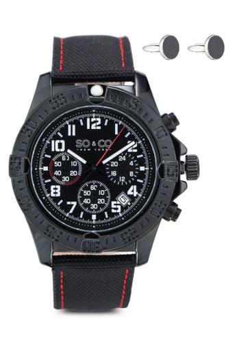 SO&CO black Hudson 5016.2 Watch Set BE702AC86261BBGS_1
