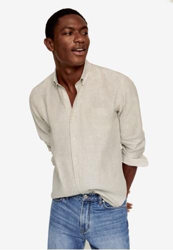MANGO Man brown 100% Linen Slim Fit Shirt 2873CAA964BF3BGS_1