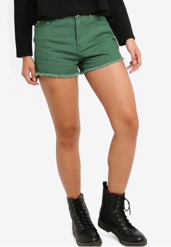 Something Borrowed green Colored Denim Shorts 36B05AACC7C111GS_1