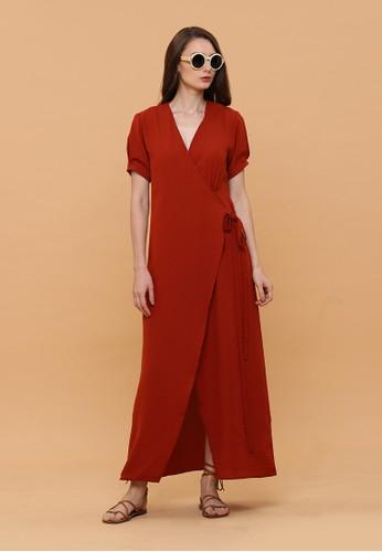 sale retailer e68f9 5e474 Wearstatuquo red Aise Maxi Wrap Dress 135EBAA9A885D3GS 1