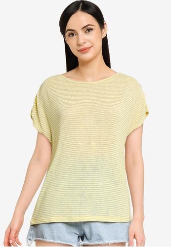 ONLY yellow Riz Short Sleeve Glitter Top 8DE96AAC4D1083GS_1