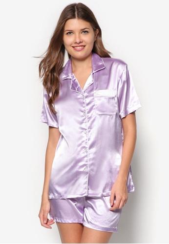 Impression purple Satin Camisole Set IM021AA91FEASG_1