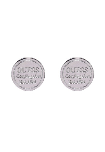 Guess silver Guess L.A Coin Round Stud Earrings F8EA7ACA3D7764GS_1