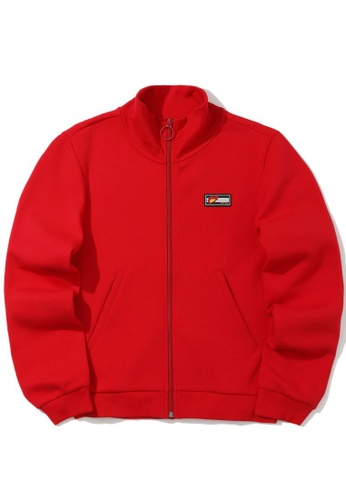tout à coup red Patched zip sweater 470CBAAC6F1582GS_1