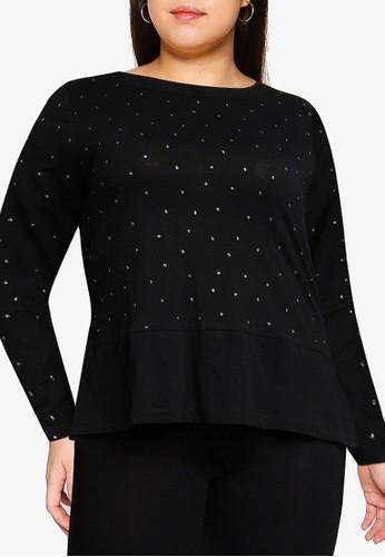 OVS black Plus Size Glitter Polka Dots T-Shirt EFD75AA292C907GS_1