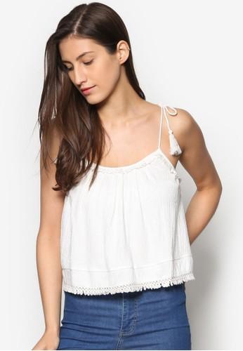 流蘇繫帶細肩帶T-shirt、 服飾、 上衣TOPSHOP流蘇繫帶細肩帶上衣最新折價