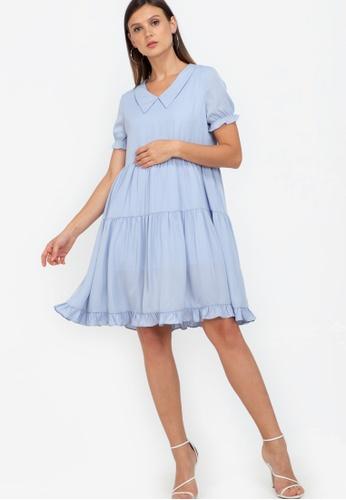 ZALORA WORK blue Tiered Contrast Collar Dress 2FBFAAA912ACFDGS_1