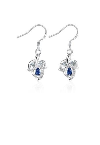 Glamorousky white Fashion Elegant Leaf Earrings with Blue Cubic Zircon A7360AC13BD517GS_1