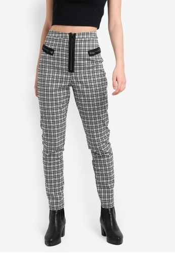 TOPSHOP black Checkered Biker Cigarette Pants TO412AA0RJO2MY_1