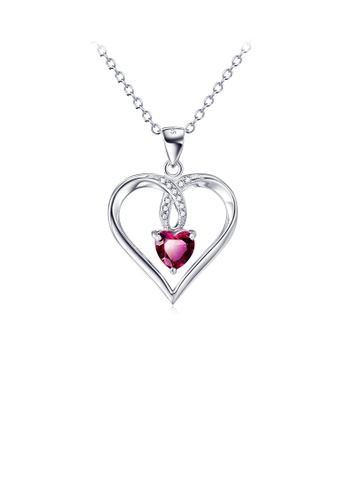 Glamorousky white 925 Sterling Silver Simple Romantic Heart Pendant with Red Cubic Zirconia and Necklace 6D72DAC57E2CB7GS_1