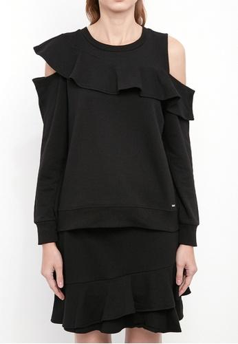 Dkny black DKNY Women French Terry Ruffle Sweatshirt B63DFAAE5E47DEGS_1