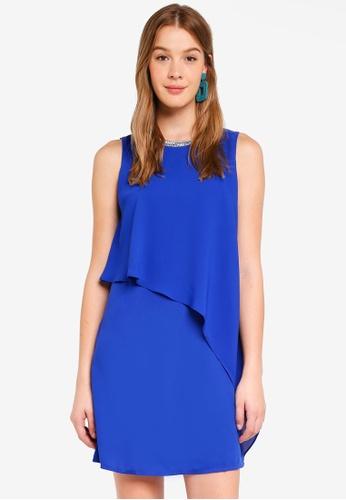 Dorothy Perkins blue Embellished Neck Shift Dress 1C492AA2EBD16CGS_1
