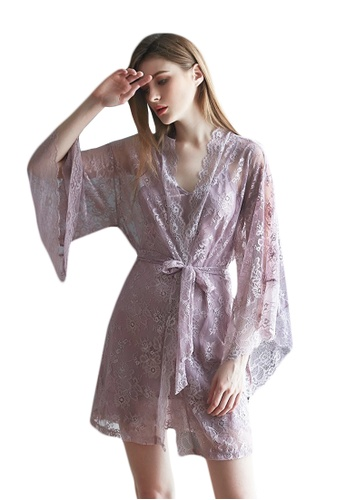 LYCKA purple LCB2117-Lady Sexy Robe and Inner Lingerie Sets-Purple 159A5US949C313GS_1