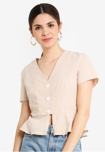 Glamorous beige Button Through Top F02A6AA8C0BCEDGS_1