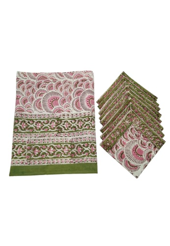 THE LOUNGE EDIT multi Shillong Tablecloth and Napkin Set AAFEDHL6682FA6GS_1