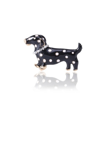 Glamorousky white Simple and Cute Black Spotted Dog Brooch with Cubic Zirconia E30BAACADCFD98GS_1