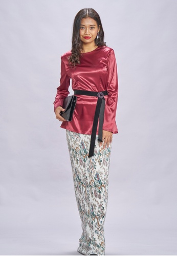 Peplum Top & Pleated Skirt modern Baju Kurung from Loveaisyah in Multi