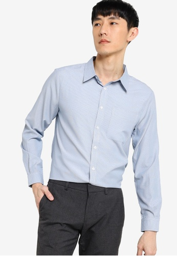 ZALORA BASICS white and blue Regular Button Down Micro Check Shirt A55E9AA689FAA0GS_1