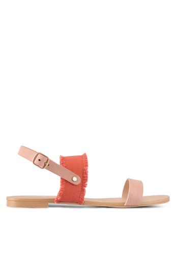 ZALORA pink Canvas Detail Sandals AA4DASHA081333GS_1