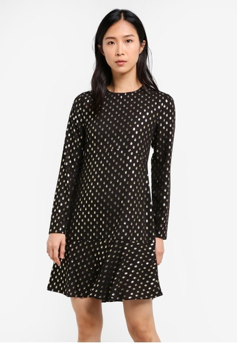 74c4103b8fa0 Buy WAREHOUSE Metallic Spot Ruffle Hem Dress Online on ZALORA Singapore