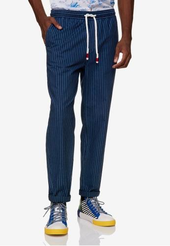 United Colors of Benetton 藍色 抽繩設計細條休閒長褲 54944AA3EE34B4GS_1