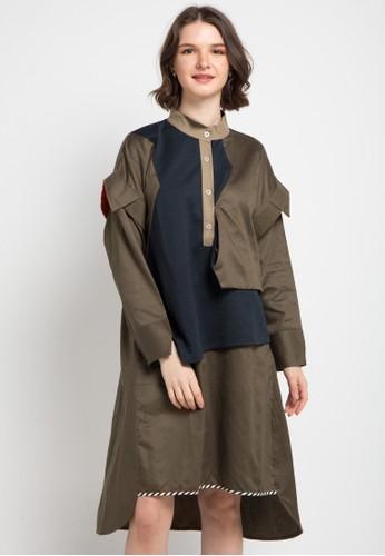 Oline Workrobe green and multi Shirt Loose Dress E960FAAB25AB0BGS_1