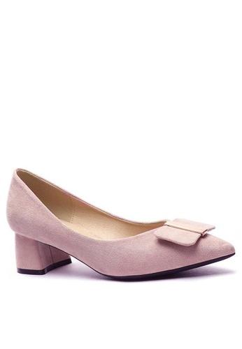 Twenty Eight Shoes 尖頭方扣絨面高踭鞋999-44 80251SH276D79EGS_1