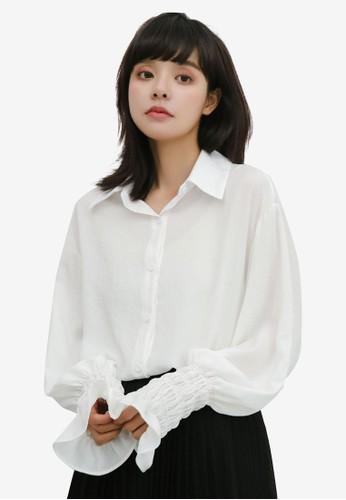 Shopsfashion white Pleated Cuff Blouse A0B31AA7B64078GS_1