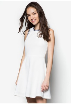 Ribbed Cut In Fit And Flare Dress
