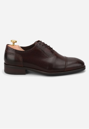 Earnest & Collective brown Leyton Mahogany Brogued Cap Toe Oxford FDB07SH68B2EEDGS_1