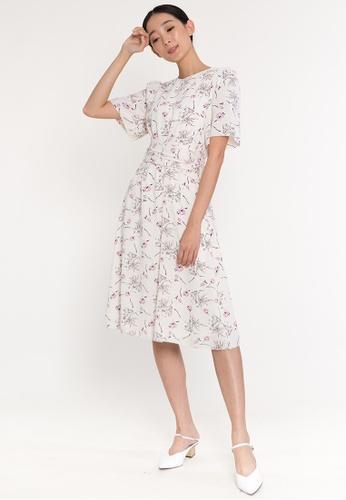 BEBEBUTTERFLY white BebeButterfly Short Sleeve Floral Midi Evening Dinner Dress F3D7FAACA35B1EGS_1