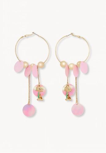 Pomelo pink Sequin Drop Hoop Earrings - Pink D08E3ACF2A8DD0GS_1