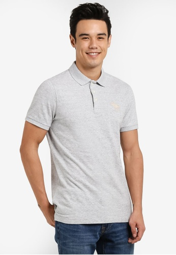 Abercrombie & Fitch grey Exploded Icon Polo Shirt AB423AA77IRAMY_1