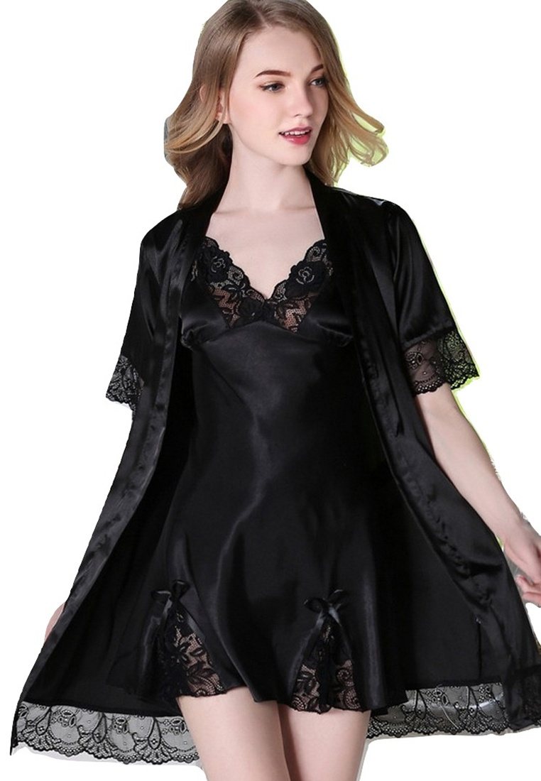 Night European Lace Pieces Sexy LCL1109Black amp; LYCKA Lady Black GownTwo Sleepwear Black M LYCKA Set Style atvqwx