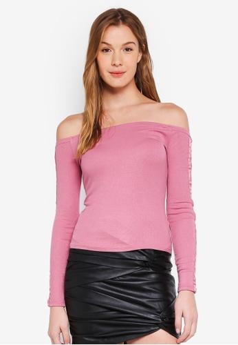 447a93ec1a31 Buy Guess Cordelia Lace Up Off-Shoulder Top Online | ZALORA Malaysia