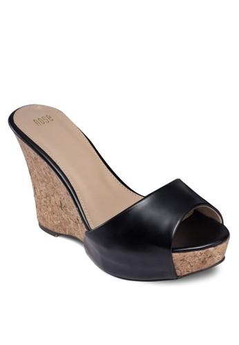 魚口仿皮厚底楔形鞋, 女鞋, 魚口zalora taiwan 時尚購物網楔形鞋
