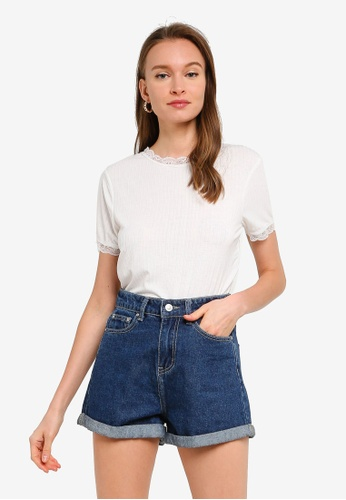 Brave Soul white Lace Neck T-Shirt BD1CBAACFD08A4GS_1